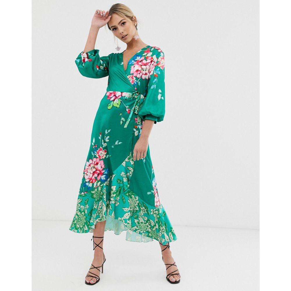 リカリッシュ Liquorish レディース ワンピース・ドレス ワンピース【wrap front midi tea dress in 緑 floral print】緑 multi