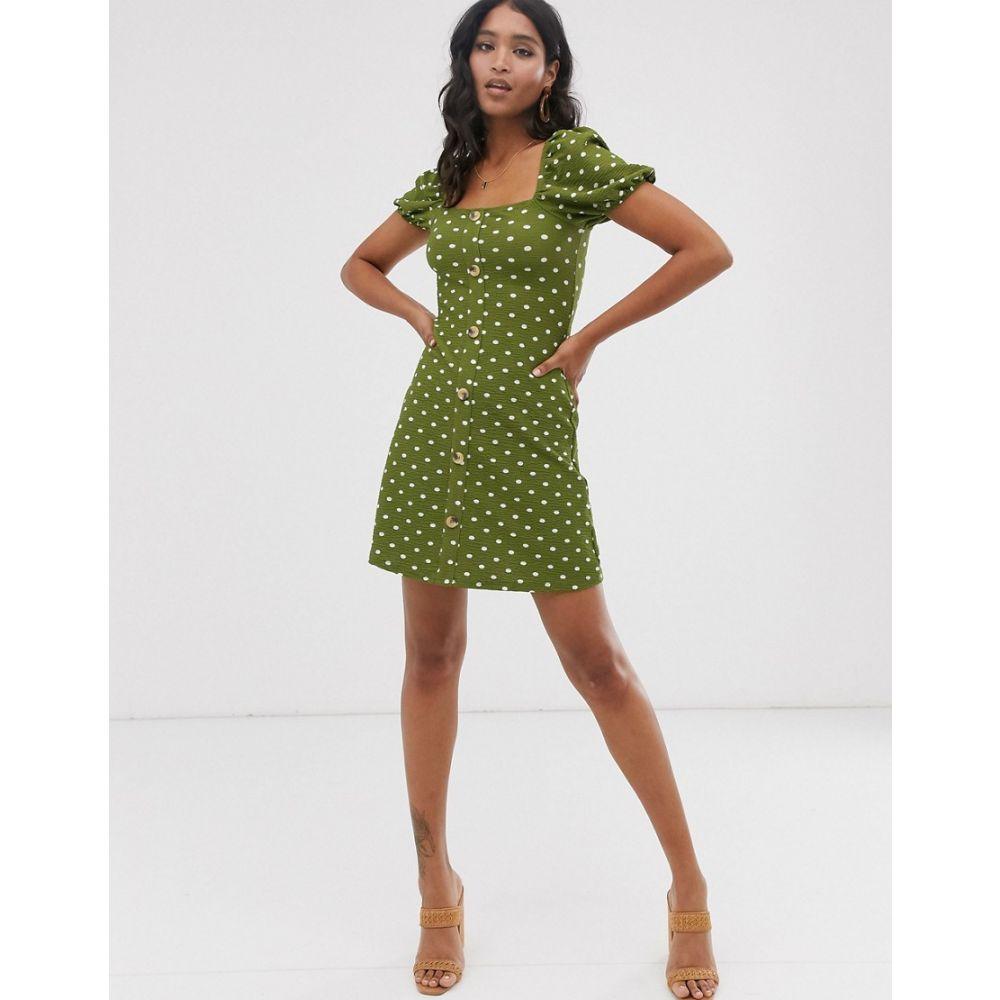 リバーアイランド River Island レディース ワンピース・ドレス ワンピース【button through puff sleeve dress in green spot print】Green spot