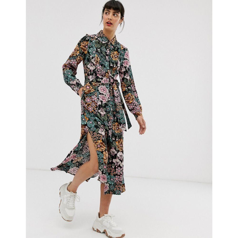 モンキー Monki レディース ワンピース・ドレス ワンピース【floral print tie waist midi shirt dress】Multi floral