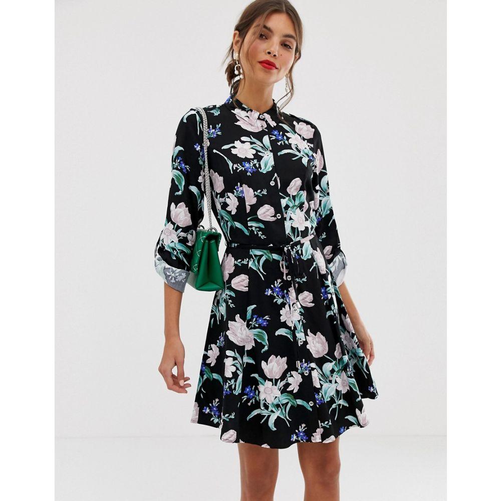 オアシス Oasis レディース ワンピース・ドレス レディース floral ワンピース dress】Black【petunia floral skater shirt dress】Black pattern, 広陵町:f3b2e7c1 --- avtozvuka.ru