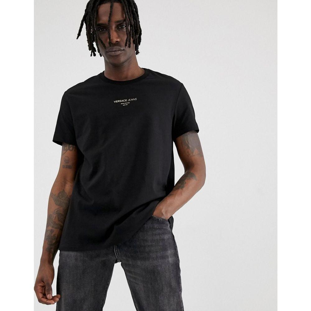 ヴェルサーチ Versace Jeans メンズ トップス Tシャツ【oversized t-shirt in black with small logo】Black