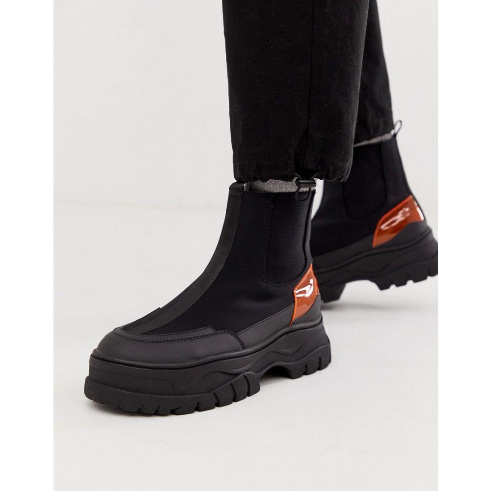 エイソス ASOS DESIGN メンズ シューズ・靴 ブーツ【chelsea boots in black with chunky sole and neon pop detail】Black