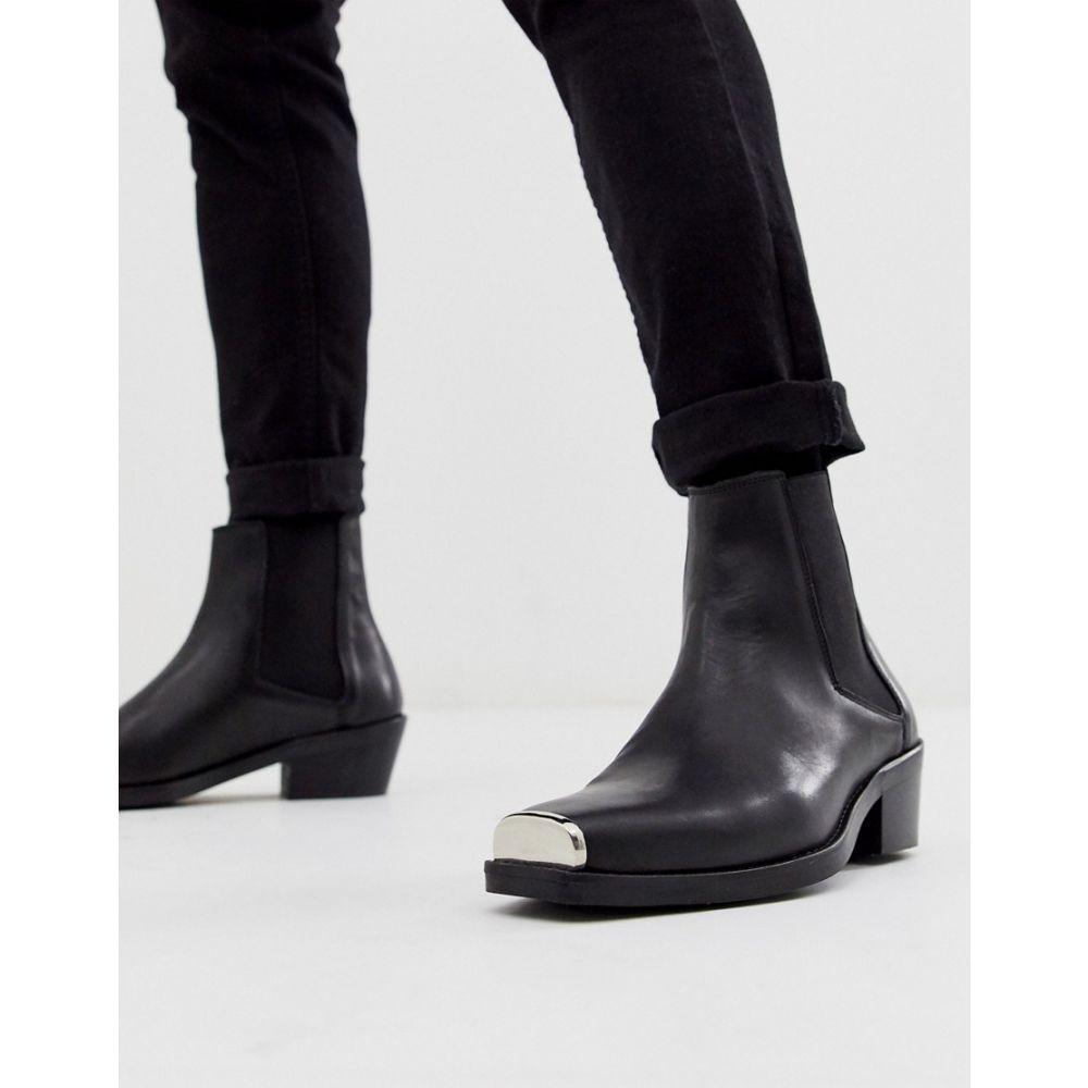 エイソス ASOS DESIGN メンズ シューズ・靴 ブーツ【cuban heel western chelsea boots in black leather with metal hardware】Black