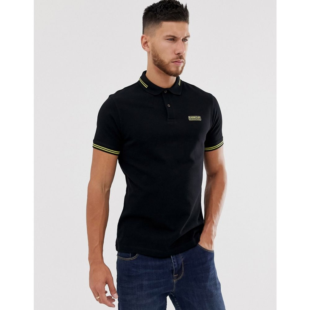 バーブァー Barbour International メンズ トップス ポロシャツ【essential tipped polo in black】Black