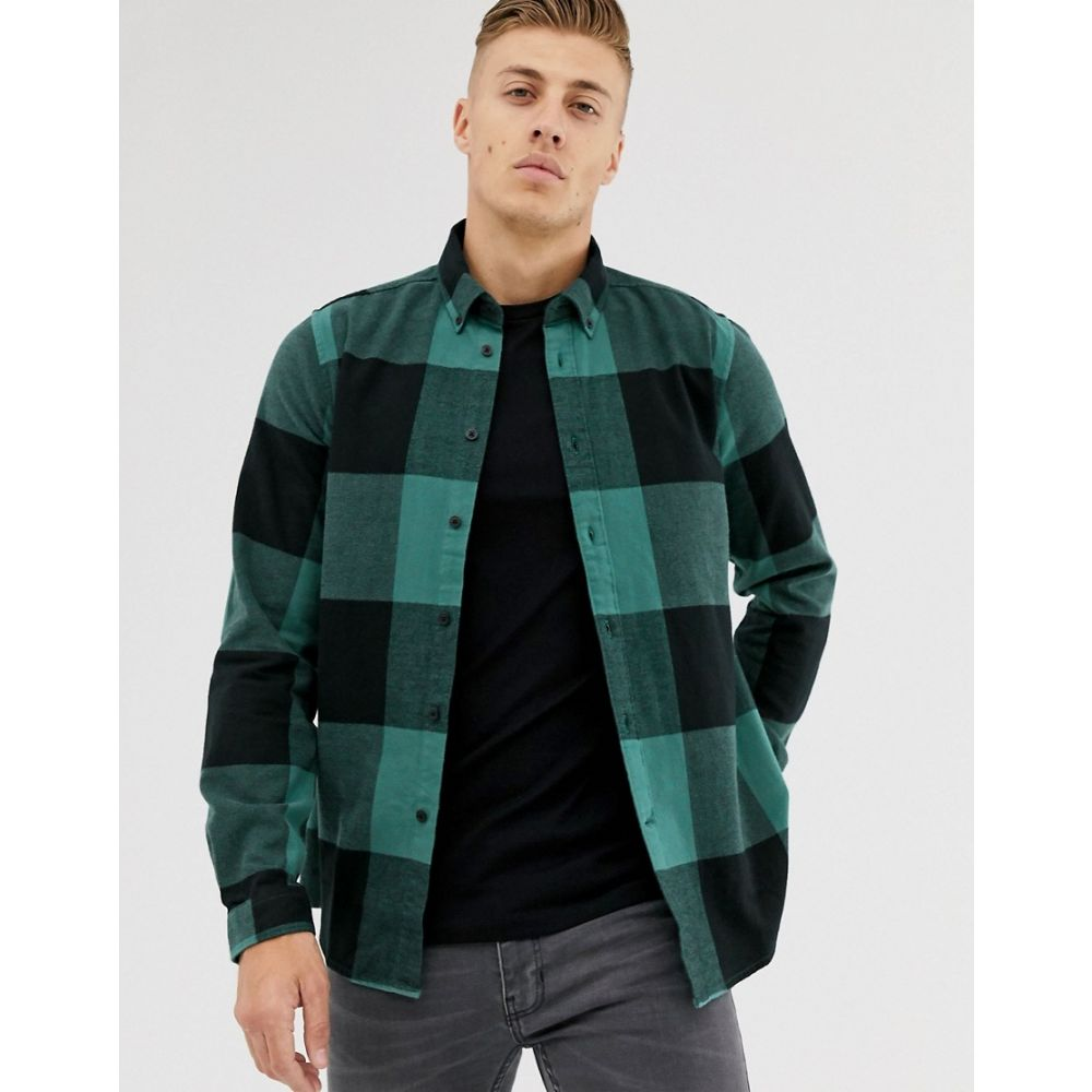 バーブァー Barbour International メンズ トップス シャツ【large gingham shirt in black/teal】Green