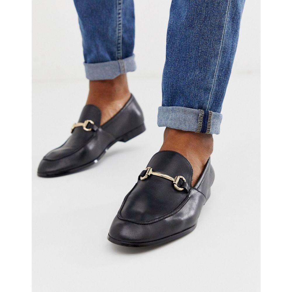 オフィス Office メンズ シューズ・靴 ローファー【lemming bar loafers in black leather】Black