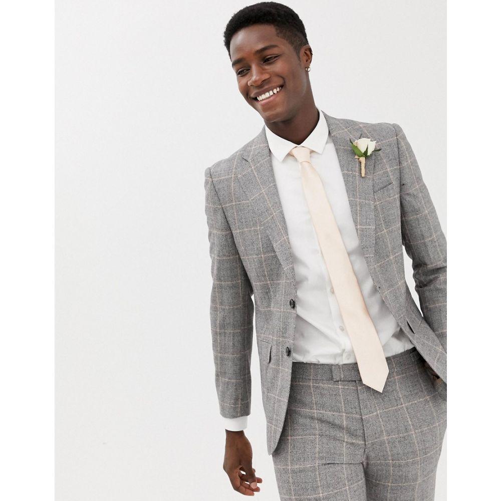 モス ブラザーズ MOSS BROS メンズ アウター スーツ・ジャケット【Moss London premium skinny suit jacket in 100% italian wool check】Grey clementine
