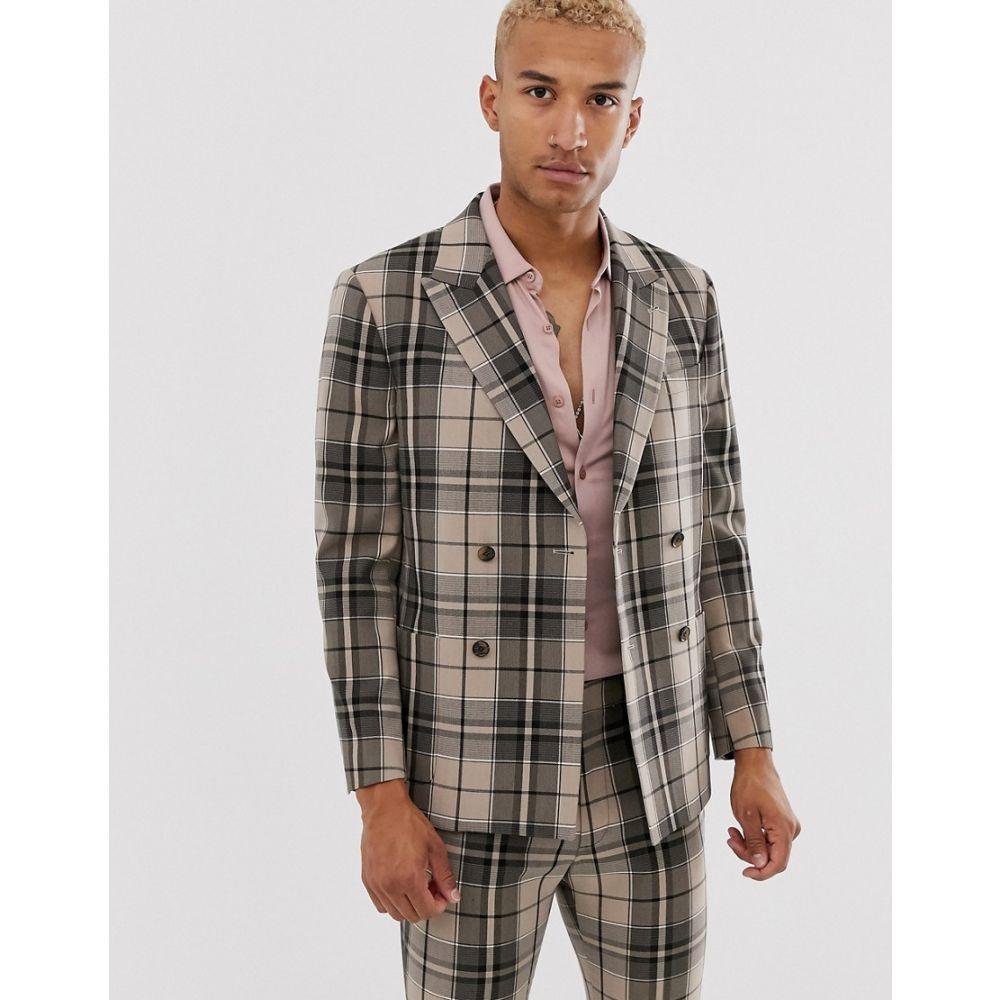 エイソス ASOS DESIGN メンズ アウター スーツ・ジャケット【boxy double breasted suit jacket in camel check】Camel