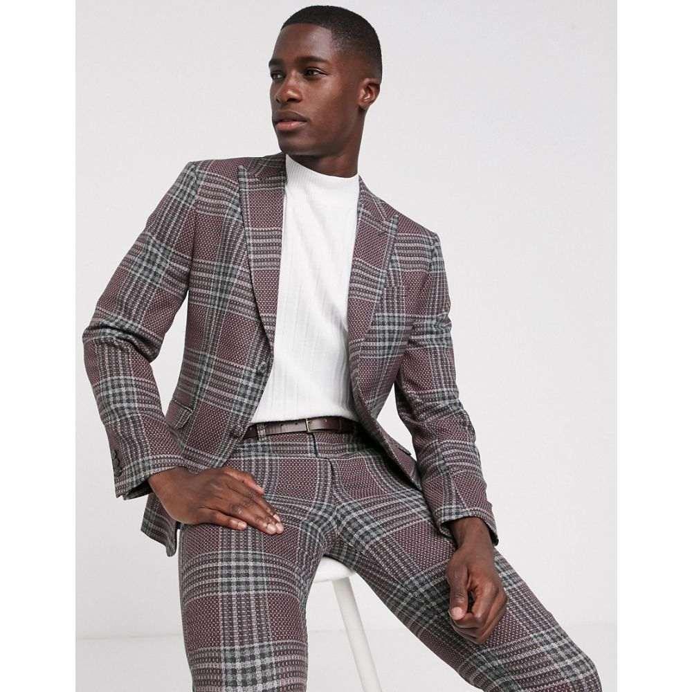 ジャック アンド ジョーンズ Jack & Jones メンズ アウター スーツ・ジャケット【Premium super slim suit jacket in wool check】Fudge