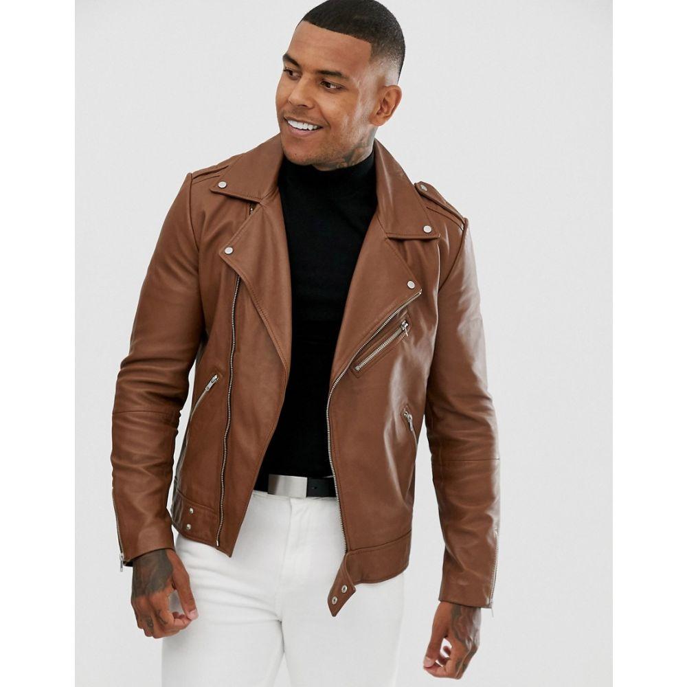 エイソス ASOS DESIGN メンズ アウター レザージャケット【leather biker jacket in tan】Tan