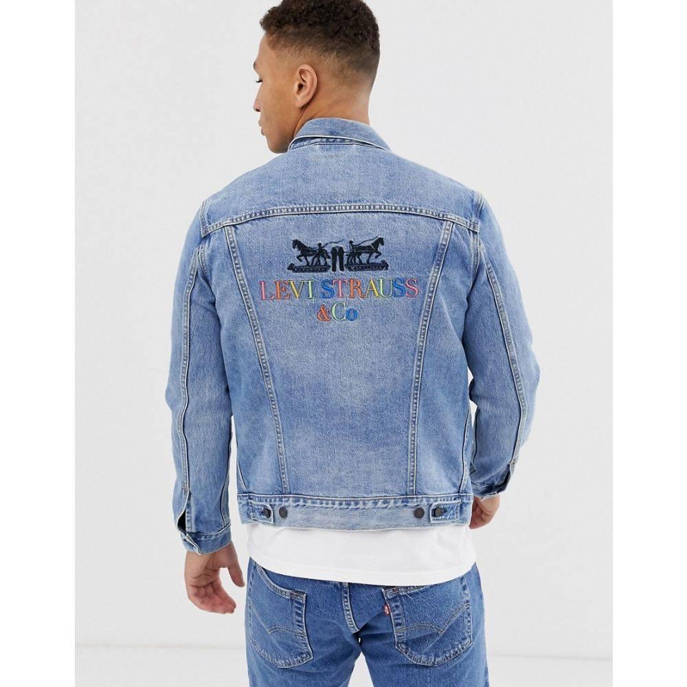リーバイス Levi's メンズ アウター ジャケット【original 2 horse multi 90s logo back denim trucker jacket in light wash】Light wash