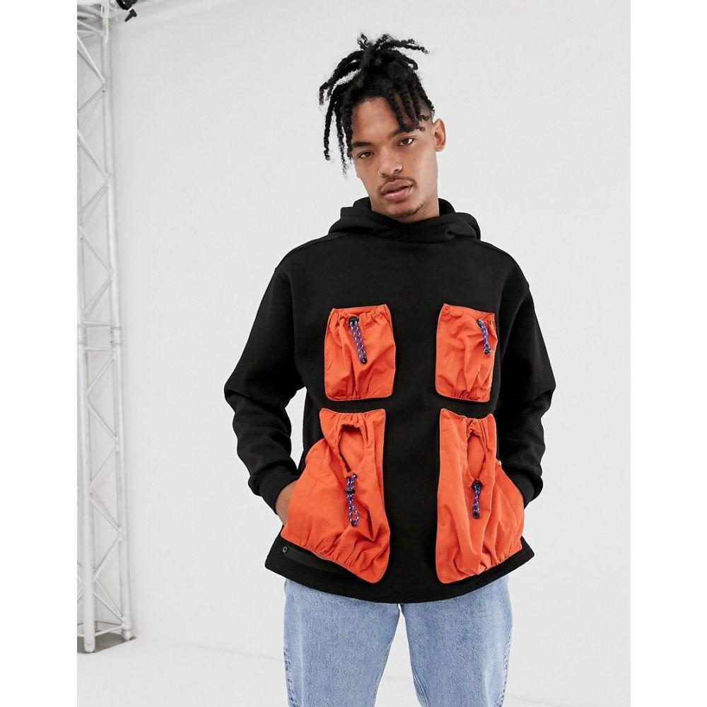 ライフ Lyph メンズ トップス パーカー【LYPH oversized hoody with contrast utility pockets】Black
