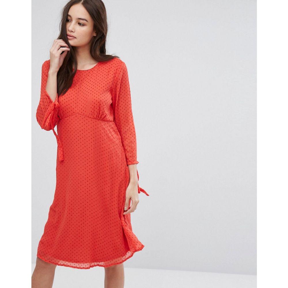 ヴィラ Vila レディース ワンピース・ドレス ワンピース long sleeve spotty mesh swing midi dress in red RedshQCxBordt