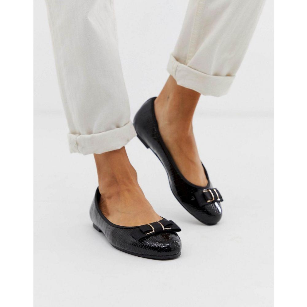 ヘッドオーバーヒールズ Head Over Heels by Dune レディース シューズ・靴 ヒール【Head Over Heels Hyria black croc patent ballet shoes】Black croc