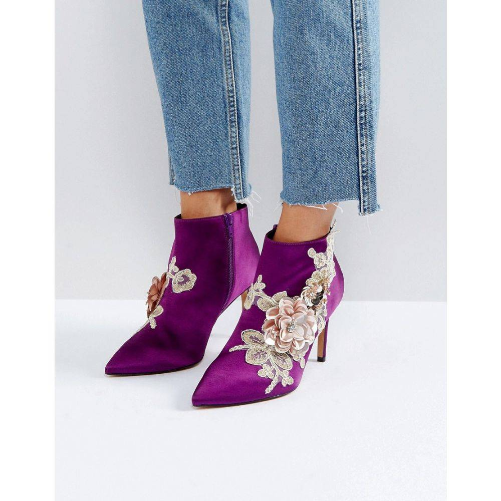 エイソス ASOS DESIGN レディース シューズ・靴 ブーツ【ASOS ELEGANCE Embellished Pointed Ankle Boots】Purple