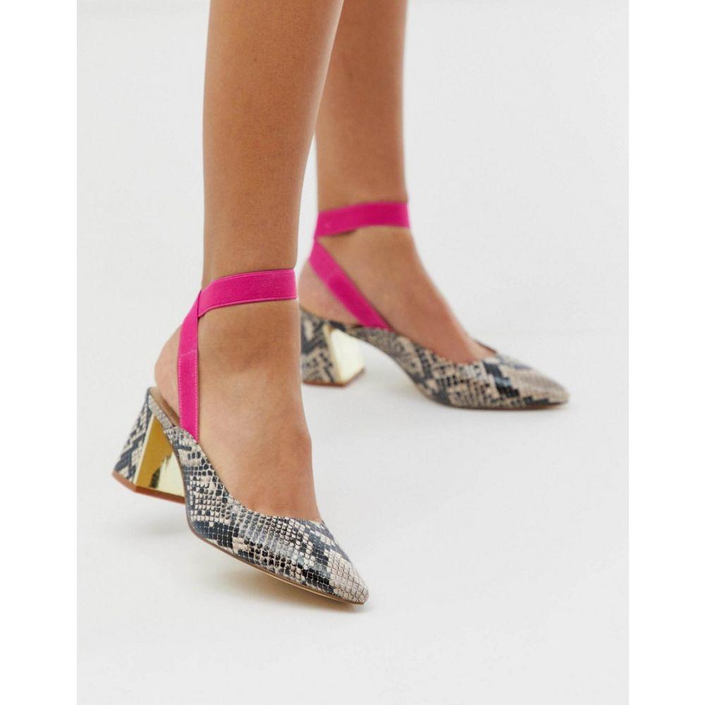 トリュフコレクション Truffle Collection レディース シューズ・靴 ヒール【curved heel pointed shoes in snake】Natural snake