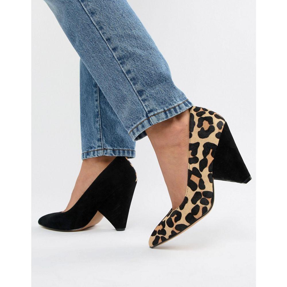 エイソス ASOS DESIGN レディース シューズ・靴 パンプス【Potion premium leather high heeled court shoes in black suede and leopard】Black suede/leopard