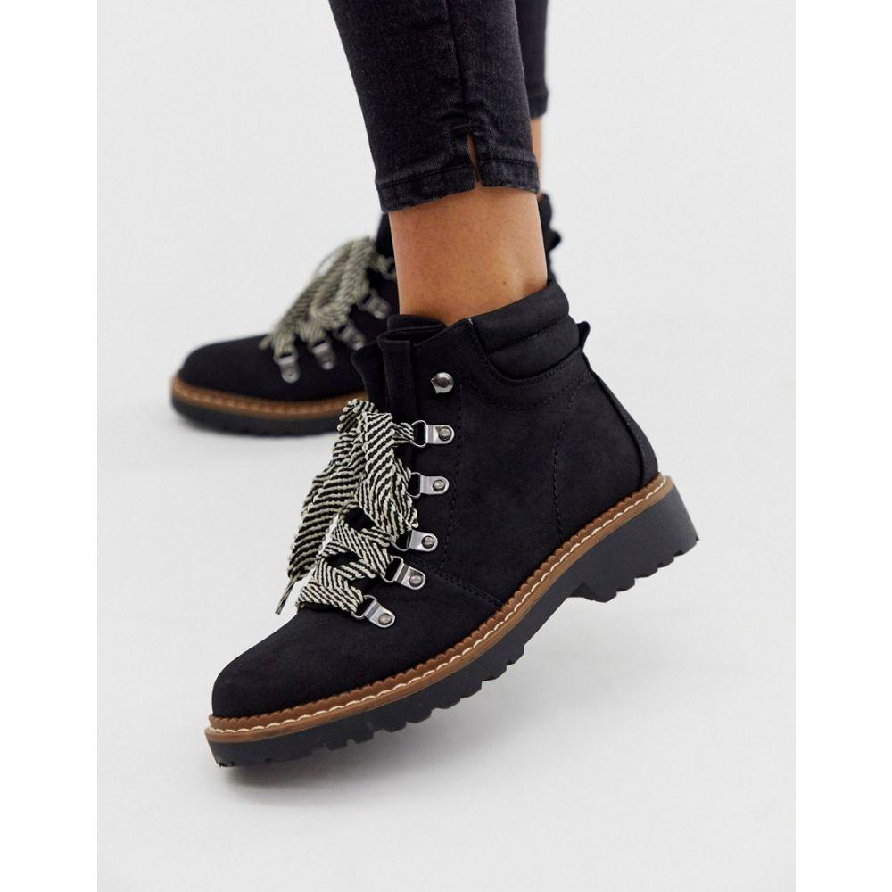 パークレーン Park Lane レディース シューズ・靴 ブーツ【flat boots with contrast laces】Black micro