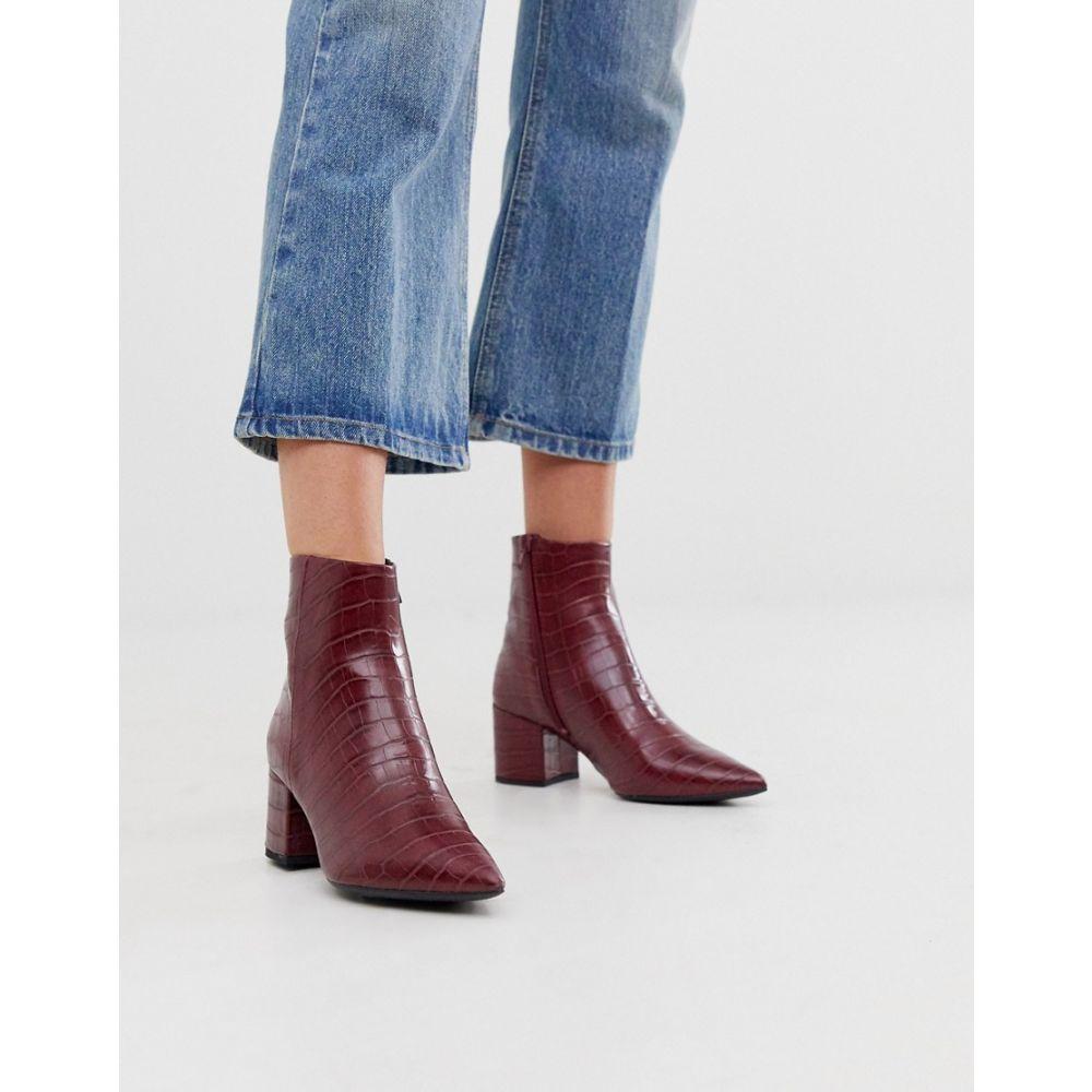 ニュールック New Look レディース シューズ・靴 ブーツ【pointed block heeled boots in dark red croc】Red