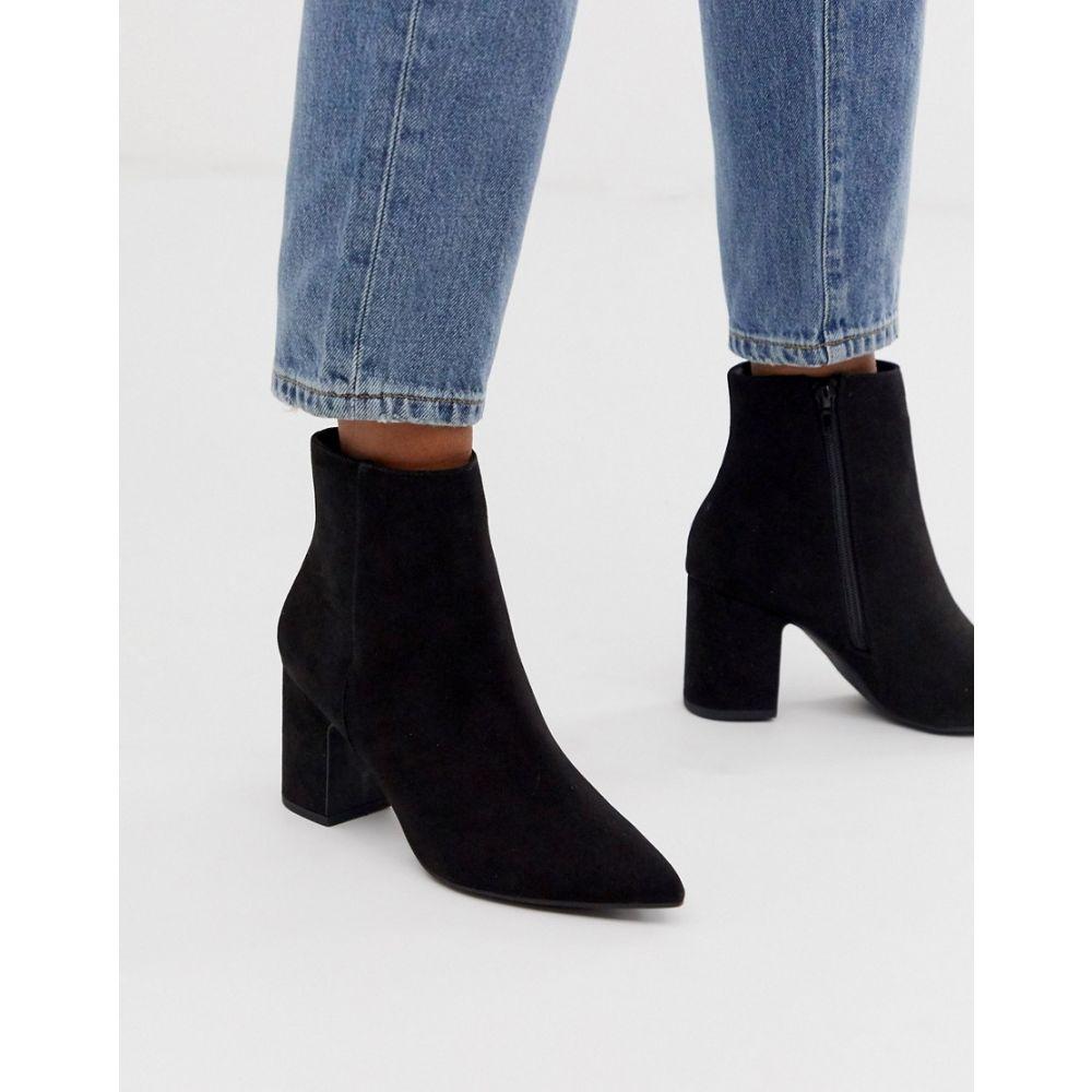 ニュールック New Look レディース シューズ・靴 ブーツ【faux suede pointed heeled boots in black】Black