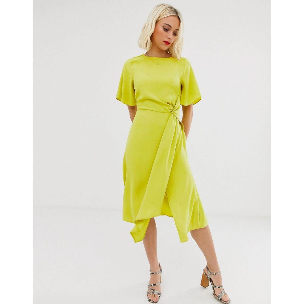 オアシス Oasis レディース ワンピース・ドレス ワンピース【twist front midi dress】Lime green