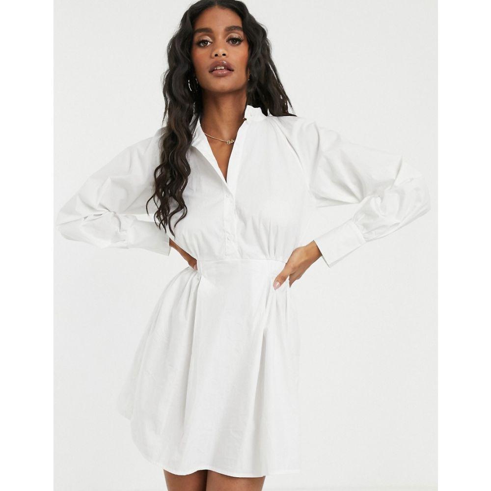 ミスガイデッド Missguided レディース ワンピース・ドレス ワンピース【poplin shirt dress with elasticated waist in white】White