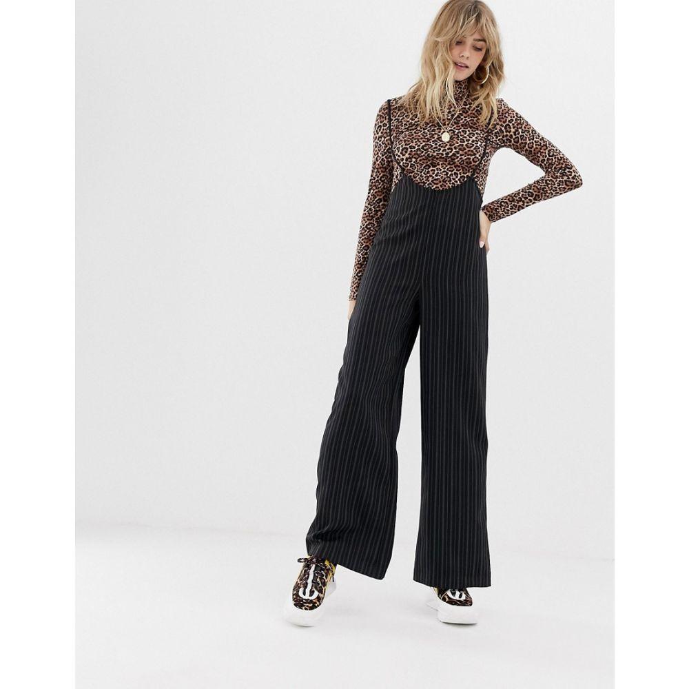リクレイム ヴィンテージ Reclaimed Vintage レディース ボトムス・パンツ【inspired trousers with braces in pinstripe】Black