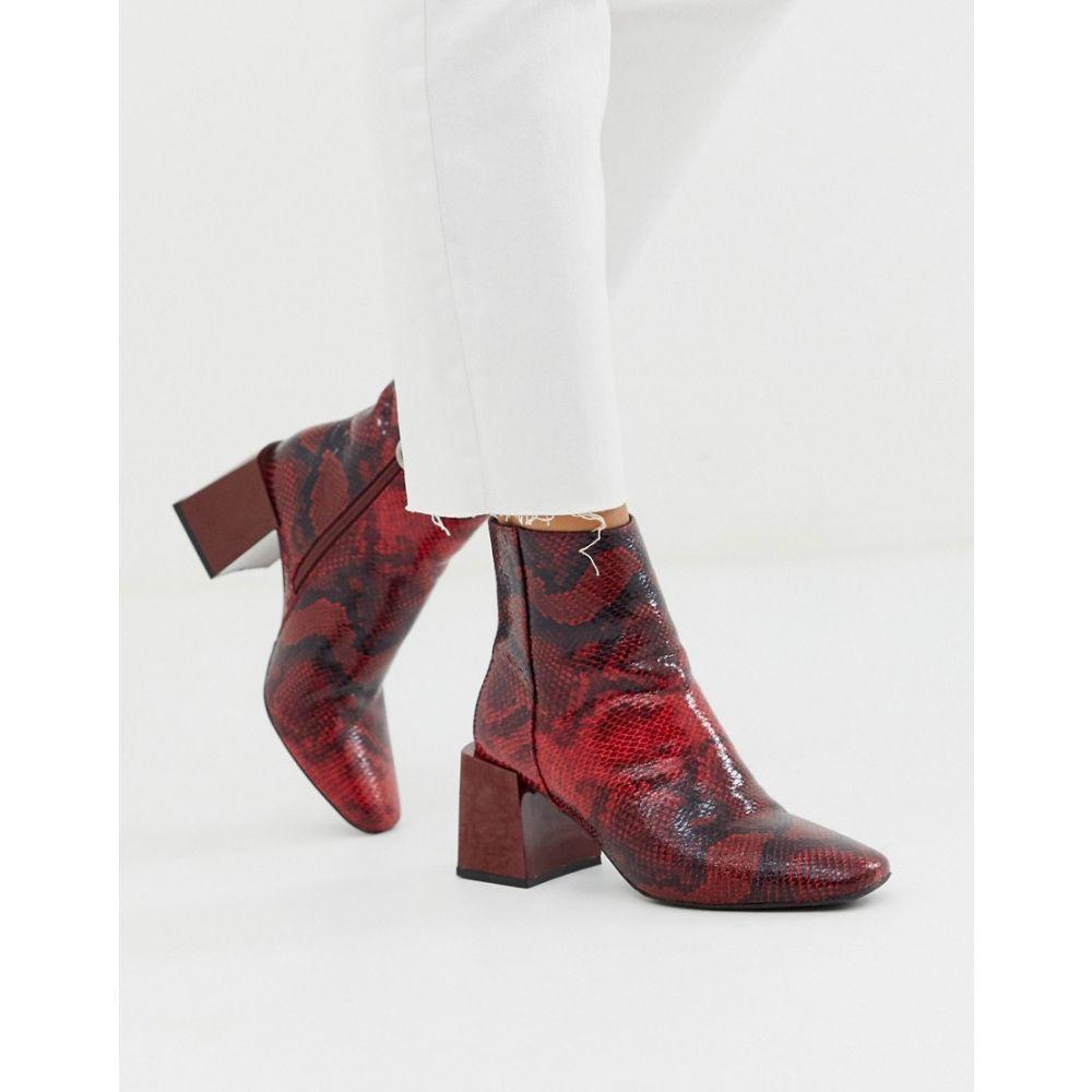 エイソス ASOS DESIGN レディース シューズ・靴 ブーツ【Reed heeled ankle boots in red snake】Red snake