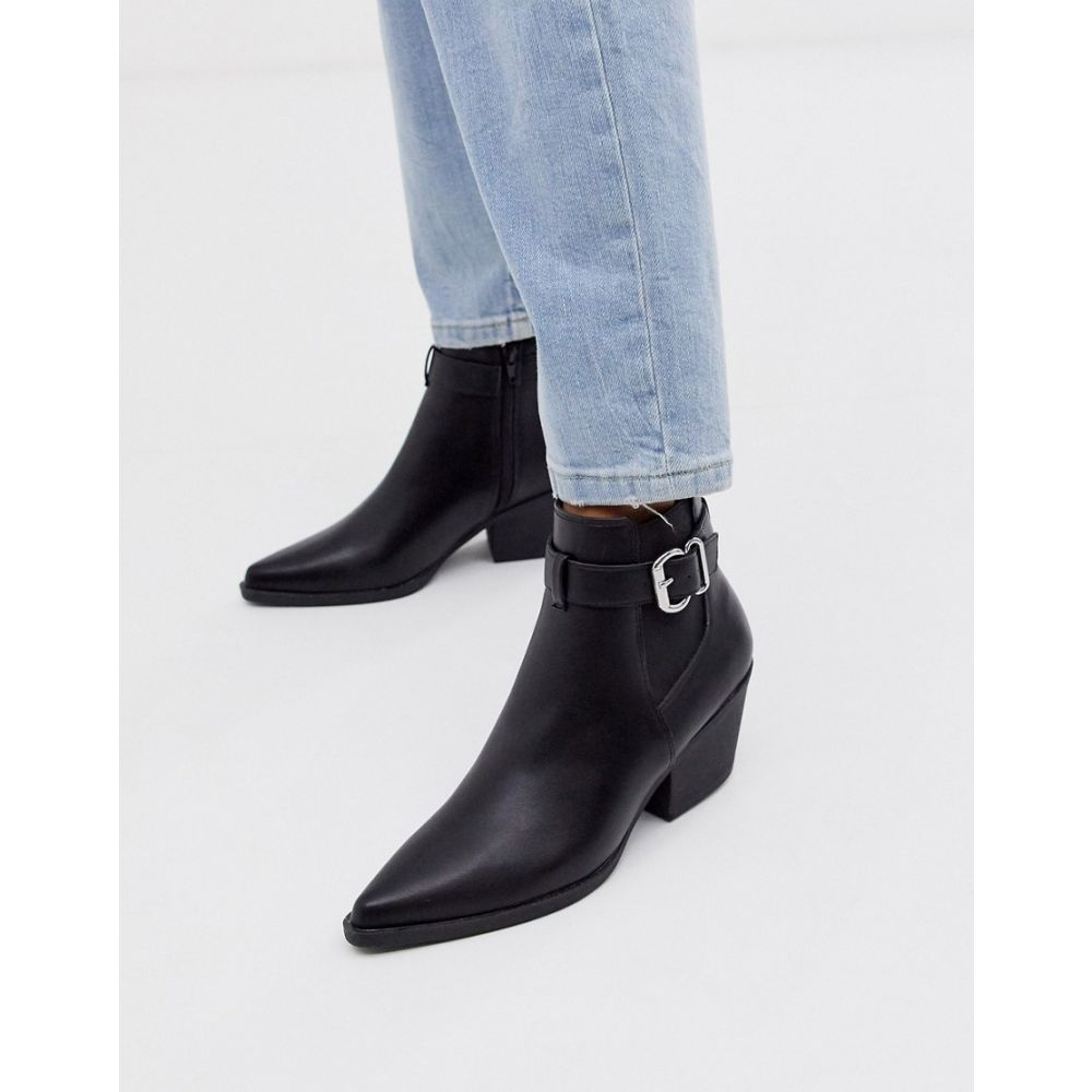 ニュールック New Look レディース シューズ・靴 ブーツ【buckle detail heeled chelsea boots in black】Black