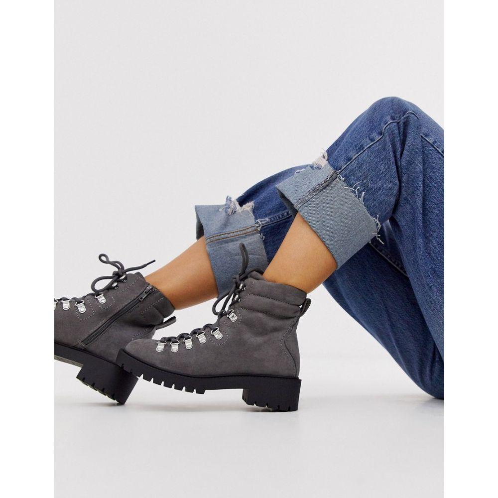 ニュールック New Look レディース シューズ・靴 ブーツ【lace detail chunky flat hiker boots in mid grey】Grey