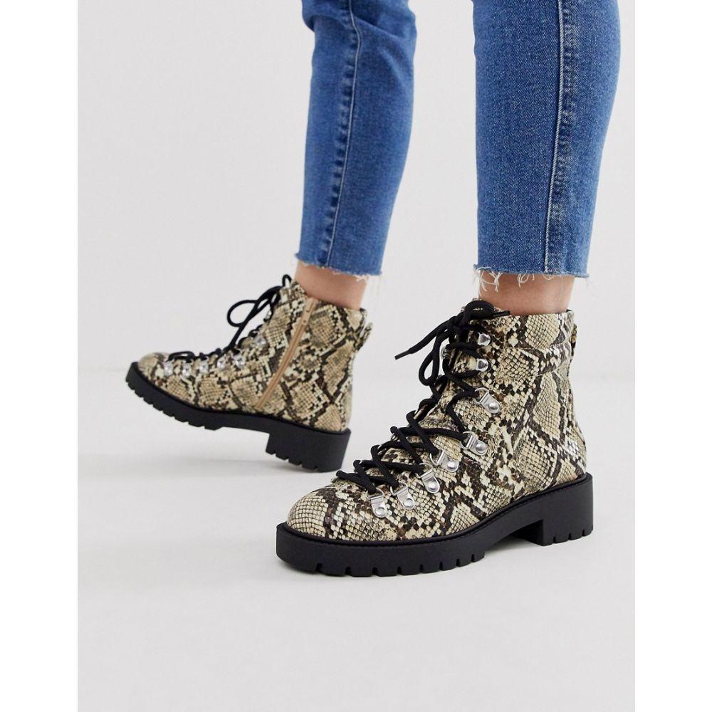 ニュールック New Look レディース シューズ・靴 ブーツ【lace detail chunky flat hiker boots in animal print】Stone