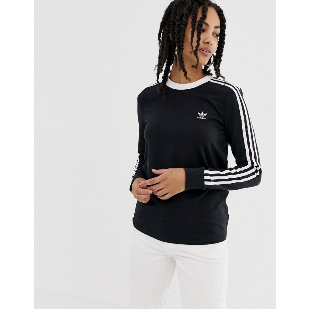 アディダス adidas Originals レディース トップス 長袖Tシャツ【adicolor three stripe long sleeve t-shirt in black】Black