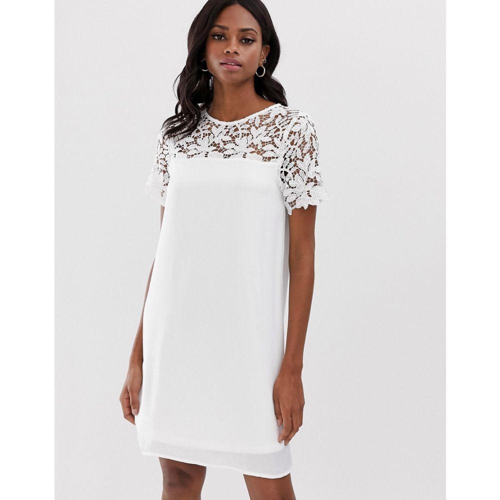 ヴィラ Vila レディース ワンピース・ドレス ワンピース【lace yoke shift mini dress】White