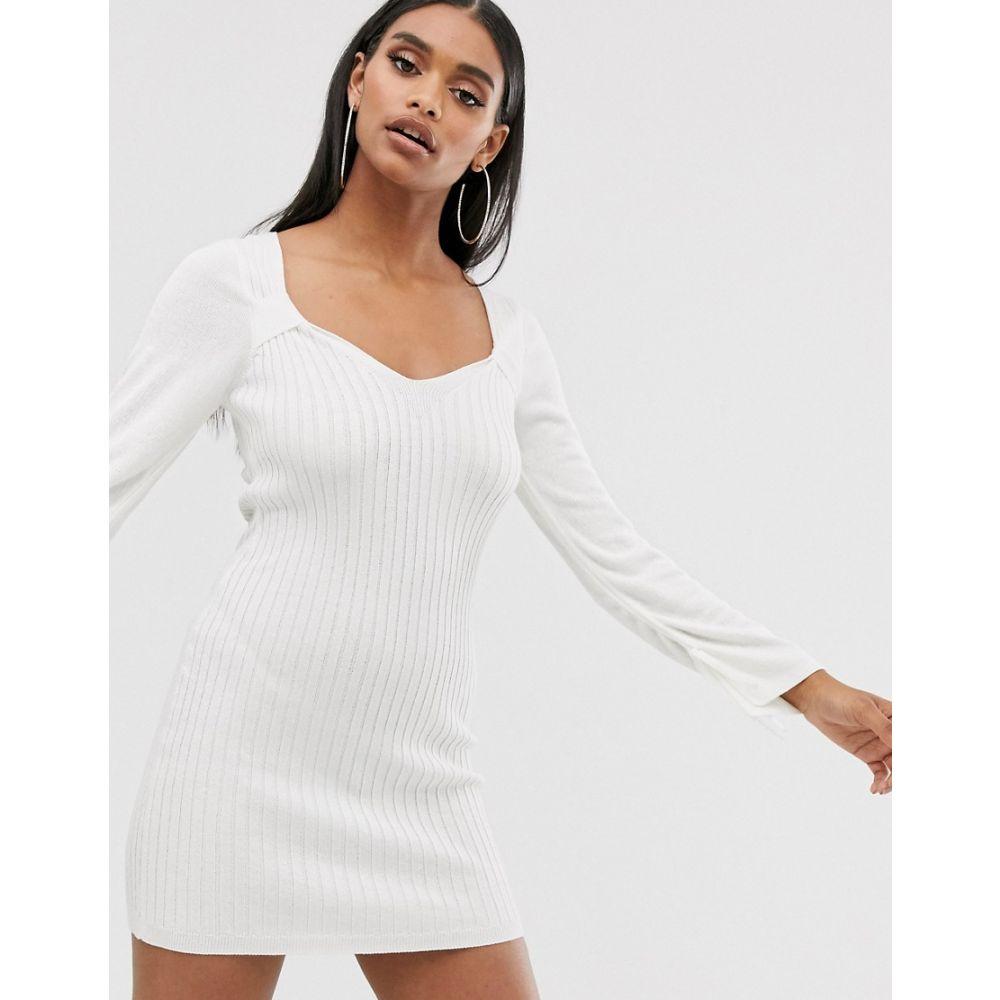 エイソス ASOS DESIGN レディース ワンピース・ドレス ワンピース【knit mini dress with square neck and ruched sleeve detail】White