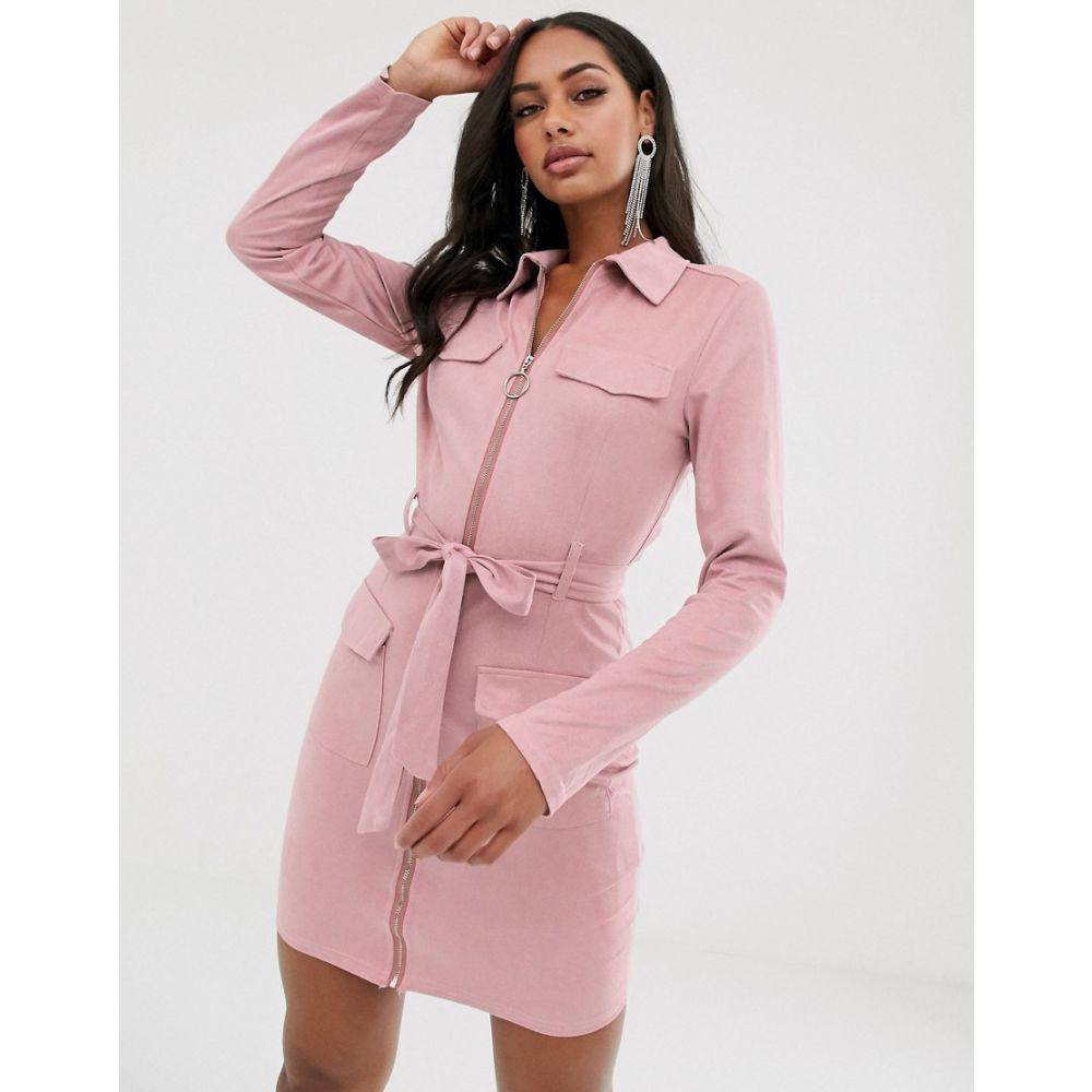 プリティリトルシング PrettyLittleThing レディース ワンピース・ドレス ワンピース【suedette shirt dress with pocket detail and belted waist in pink】Rose
