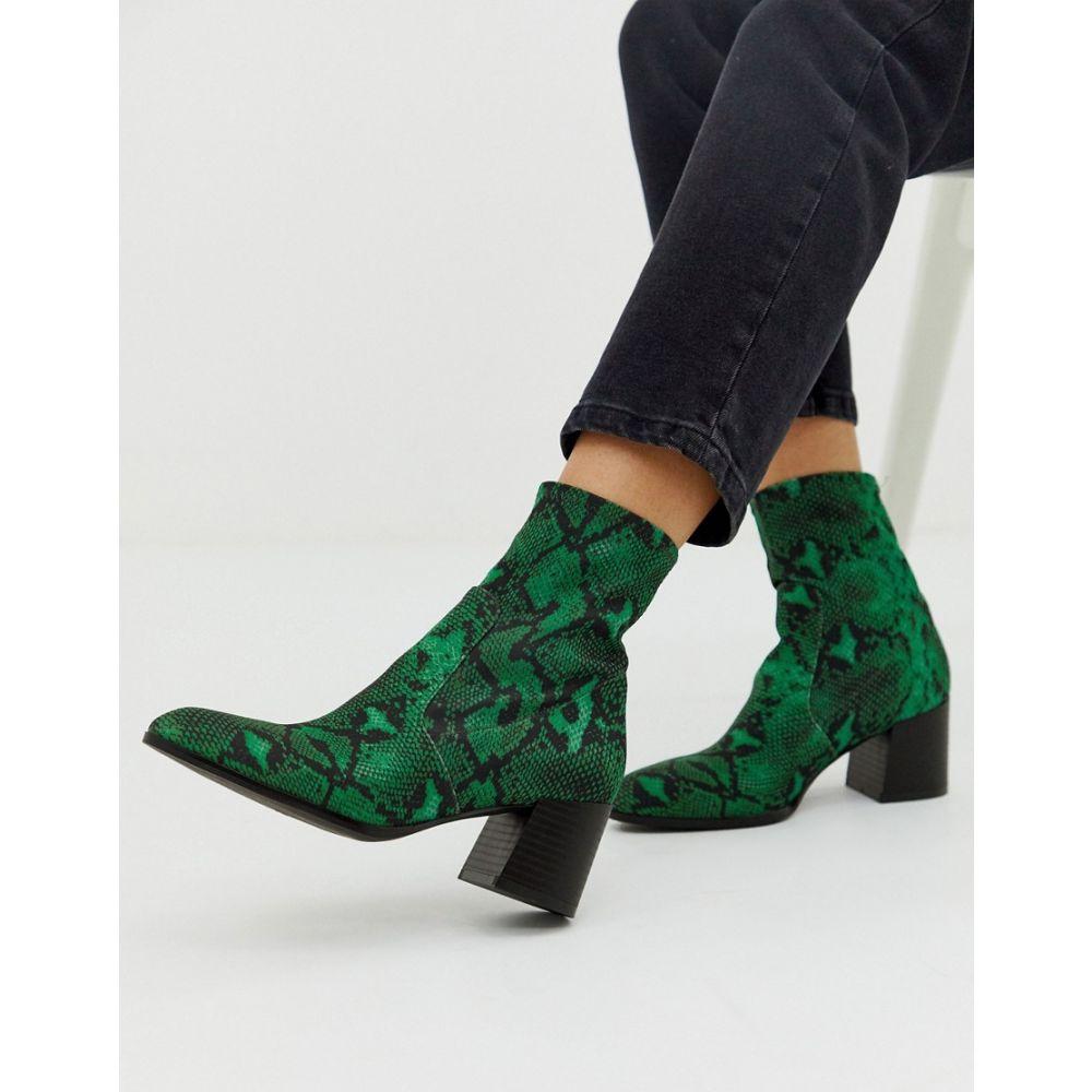 エイソス ASOS DESIGN レディース シューズ・靴 ブーツ【Rosie neoprene sock boots in green snake】Green snake