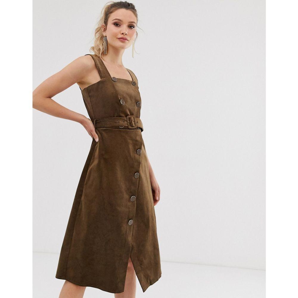 クローゼットロンドン dress】Brown Closet London London レディース ワンピース wrap・ドレス ワンピース【Closet dungaree wrap skirt dress】Brown, OPartsBox:93b3e1a1 --- avtozvuka.ru