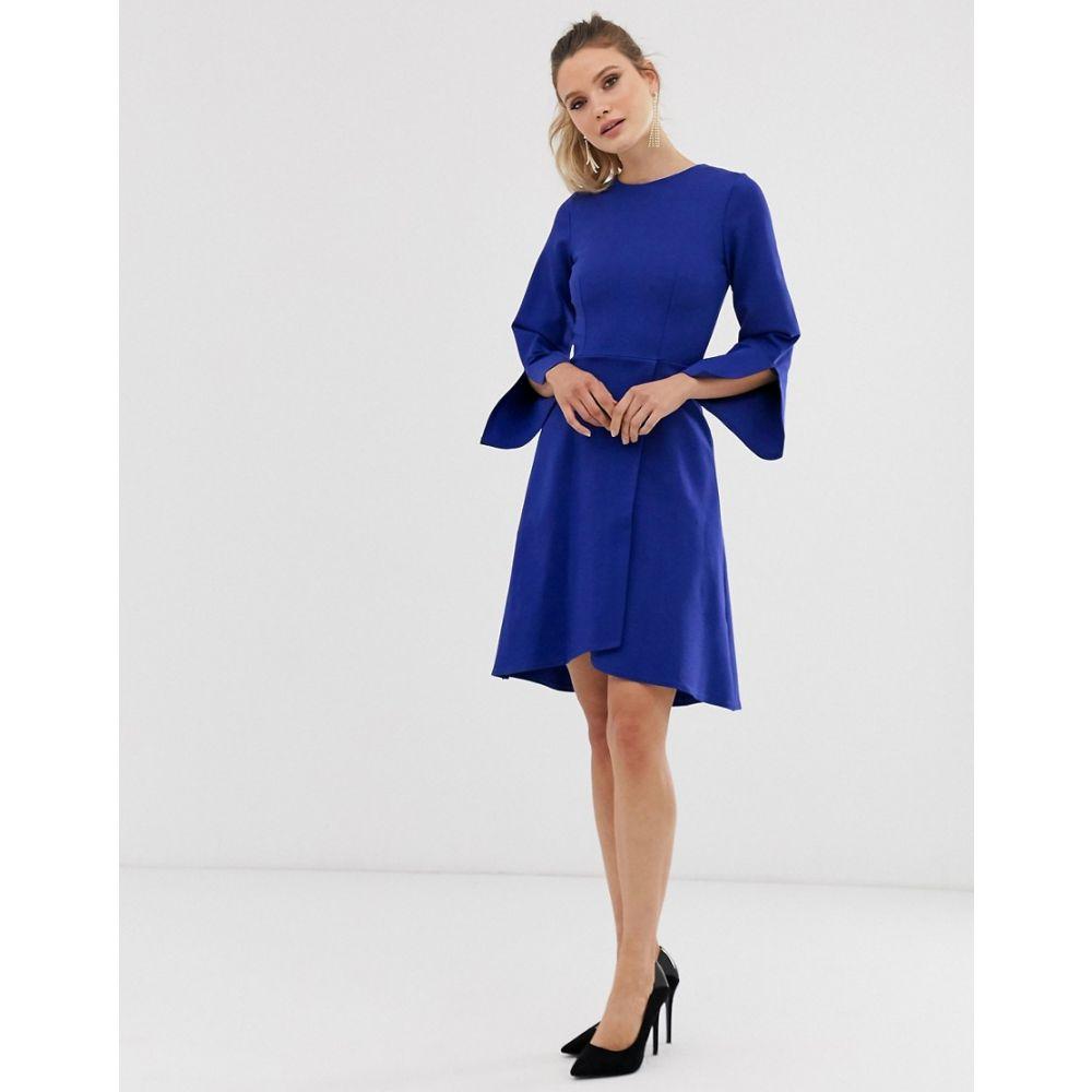 クローゼットロンドン Closet London レディース ワンピース・ドレス ワンピース【Closet long sleeve wrap dress】Blue