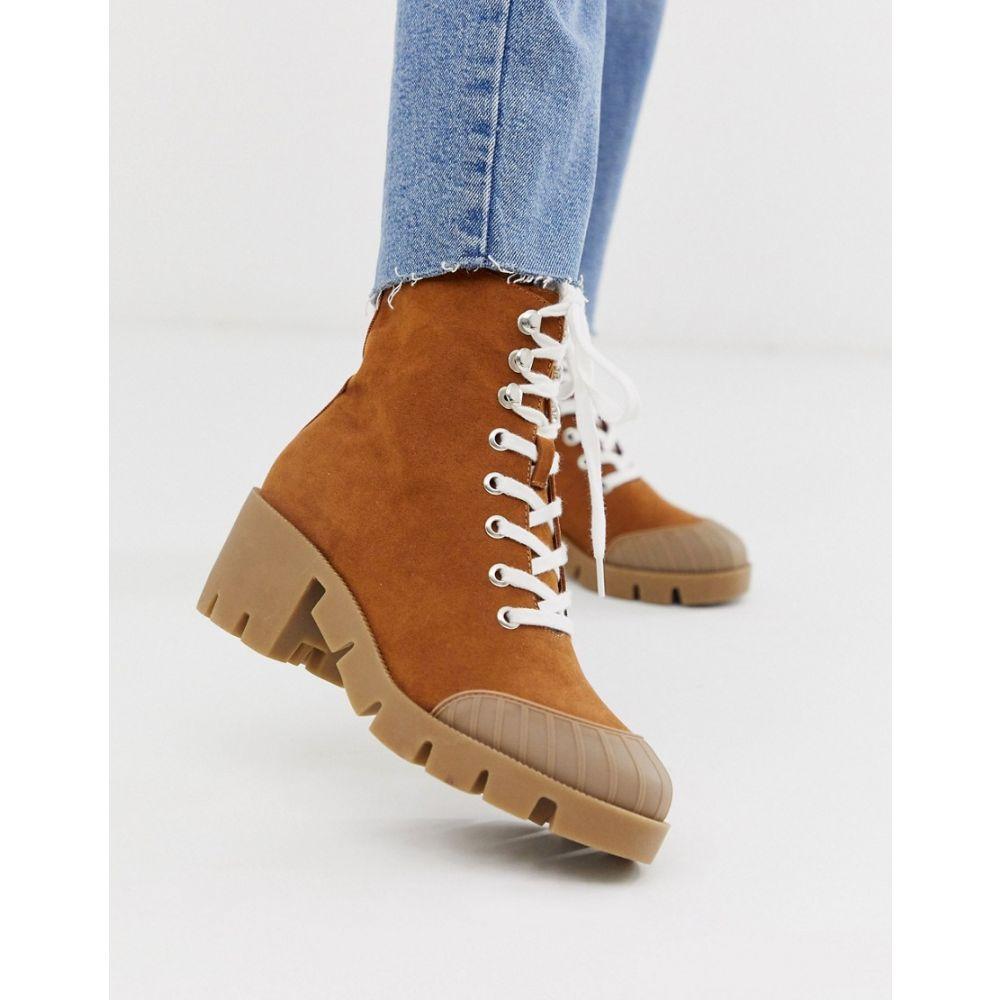 エイソス ASOS DESIGN レディース シューズ・靴 ブーツ【Ripple chunky lace up boots in tan】Tan
