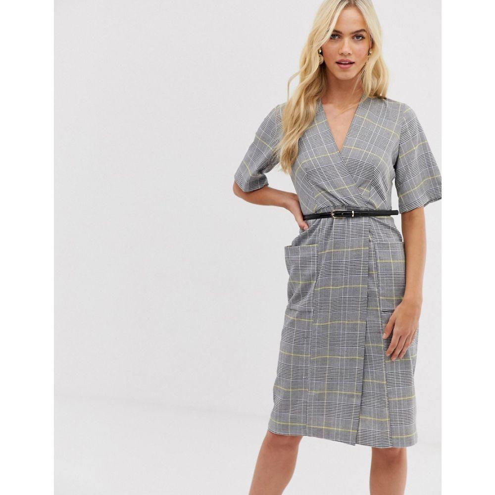 クローゼットロンドン Closet London レディース ワンピース・ドレス ワンピース【Closet check belted wrap dress】Grey