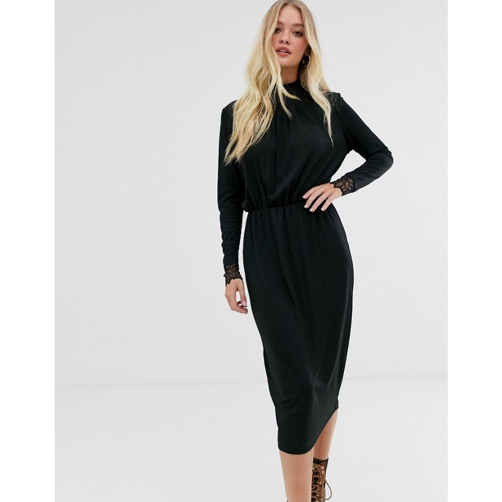 ワイ エー エス Y.A.S レディース ワンピース・ドレス ワンピース【high neck plisse dress with lace cuff in black】Black