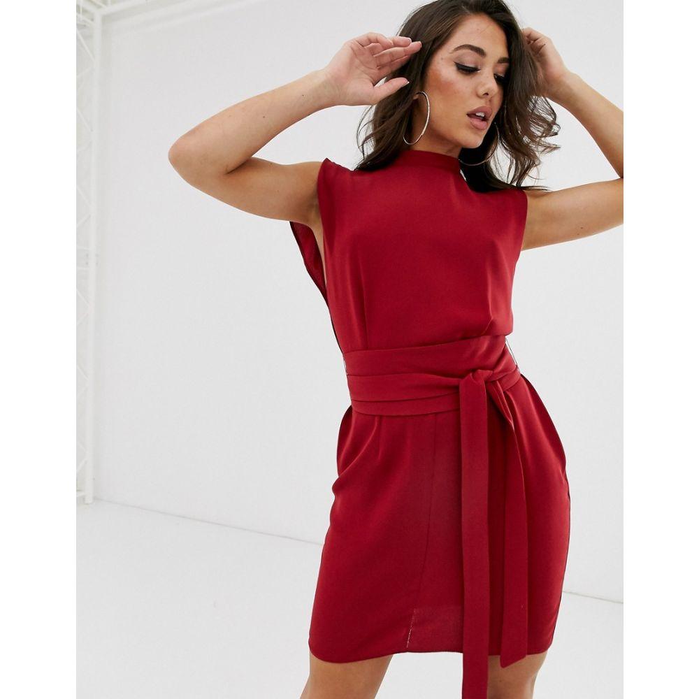 エイソス ASOS DESIGN レディース ワンピース・ドレス ワンピース【split sleeve mini dress with obi belt】Rio red