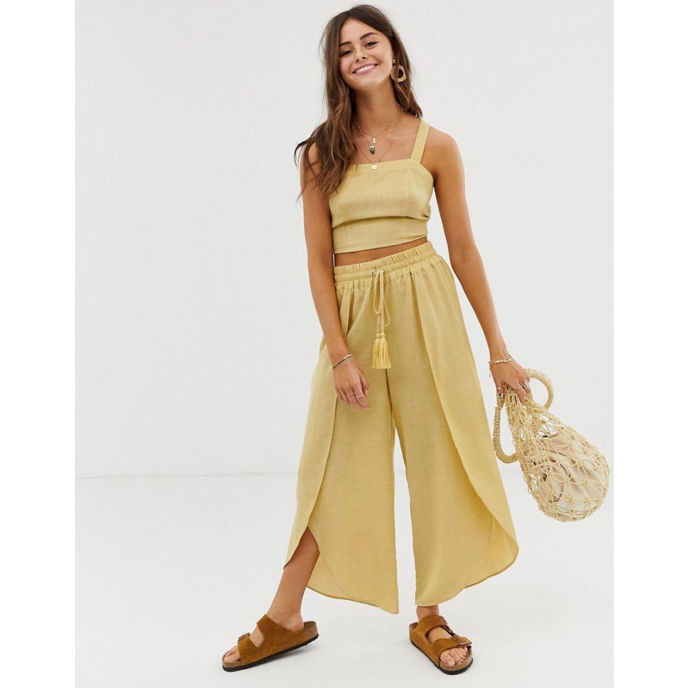 ムーンリバー Moon River レディース ボトムス・パンツ【wide leg trousers】Yellow stripe