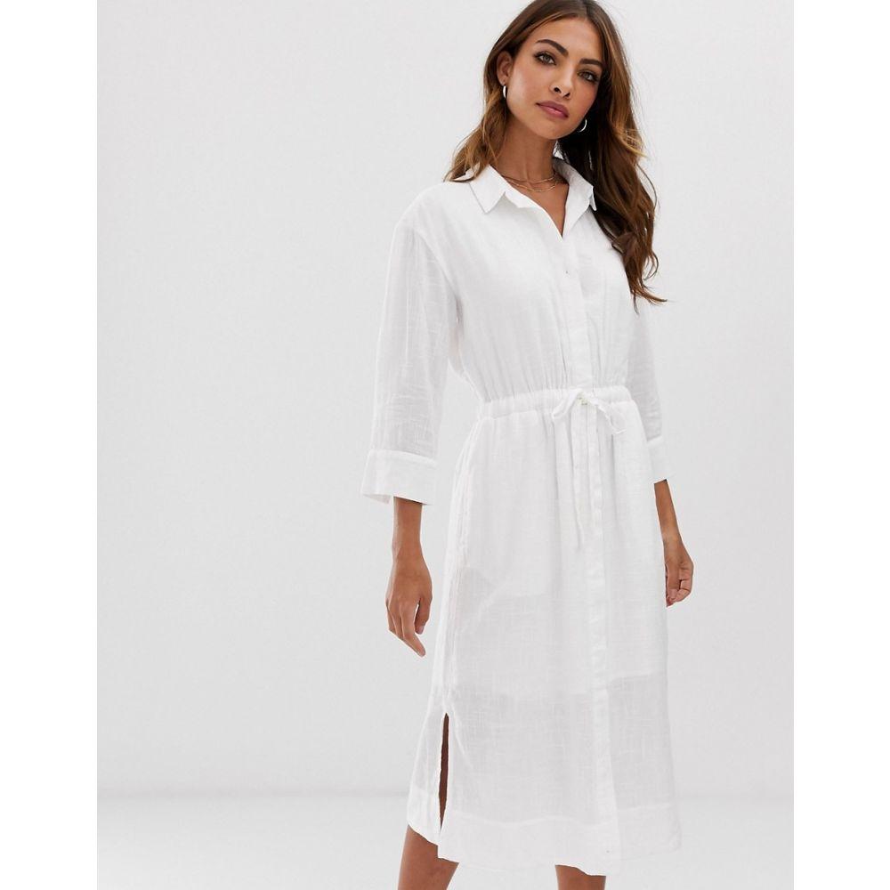 エスプリ Esprit レディース ワンピース・ドレス ワンピース【tie waist midi shirt dress with side slits in white】White