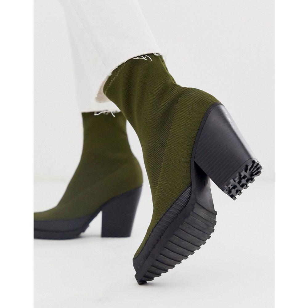 エイソス ASOS DESIGN レディース シューズ・靴 ブーツ【Rebound flyknit chunky boots in khaki】Khaki