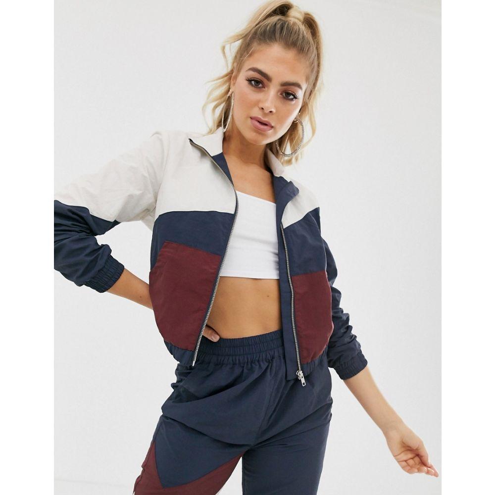 エイソス ASOS DESIGN レディース アウター ジャージ【cropped tracksuit jacket in navy colour block】Navy