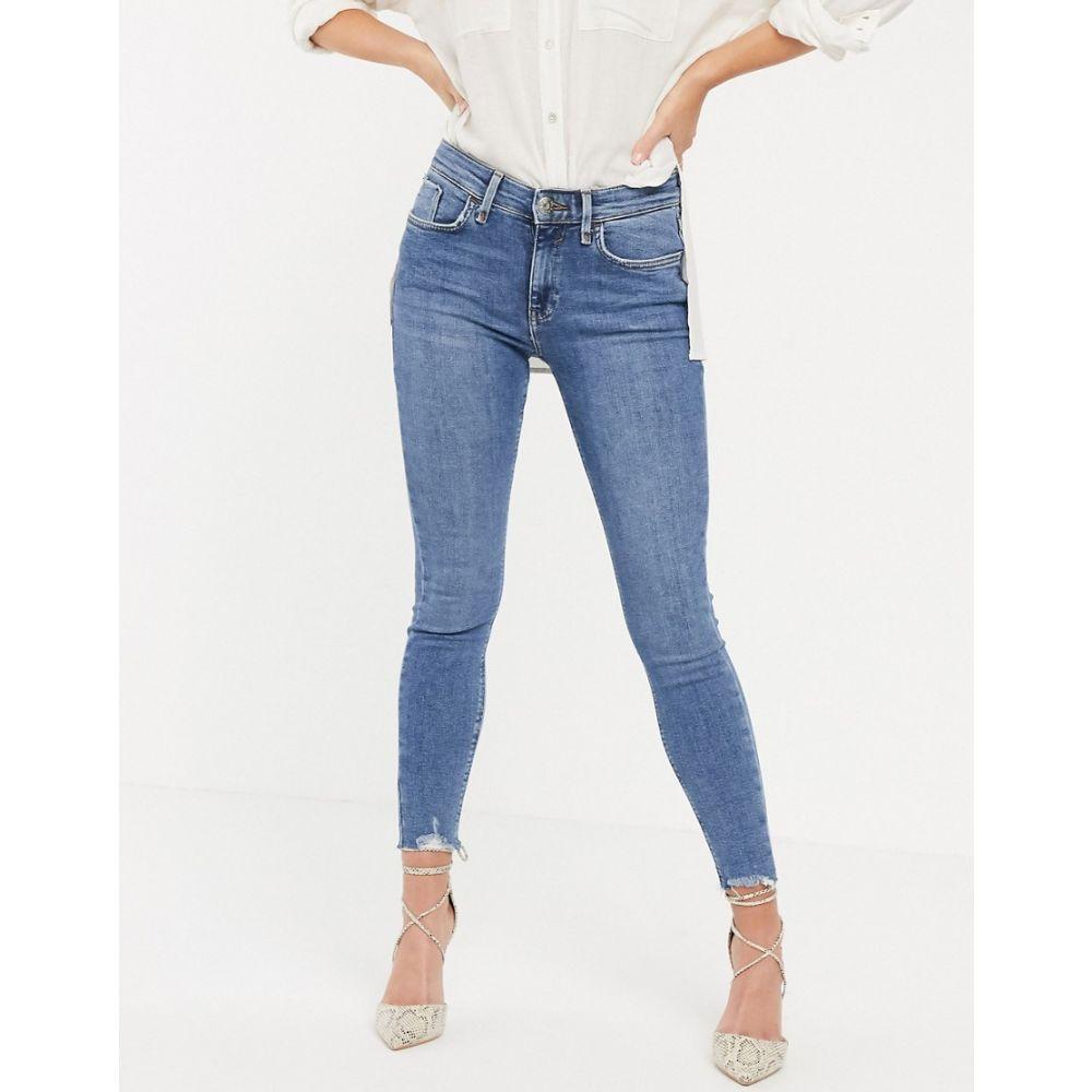 リバーアイランド River Island レディース ボトムス・パンツ ジーンズ・デニム【Amelie skinny jeans with raw hem in mid blue】Mid auth