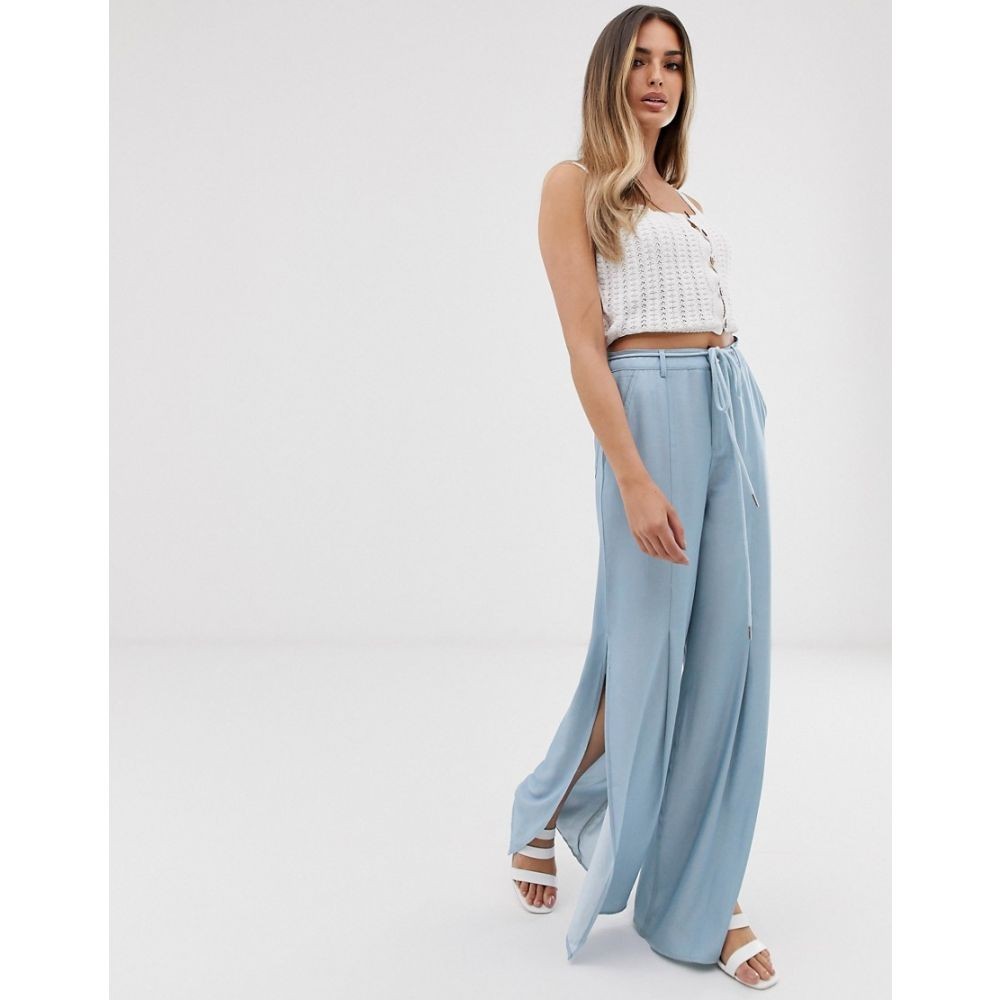 スカイラーローズ Skylar Rose レディース ボトムス・パンツ【wide leg trousers in soft chambray with rope tie belt】Light blue