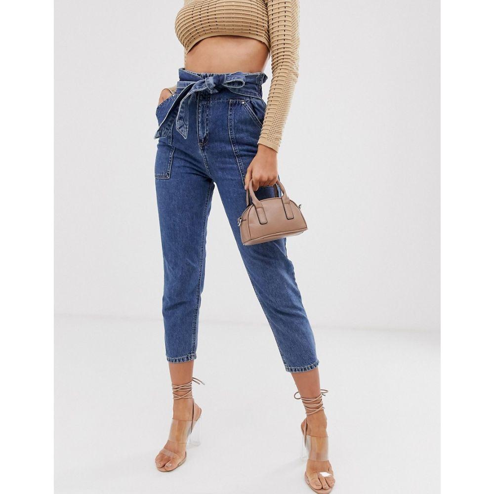 リバーアイランド River Island レディース ボトムス・パンツ ジーンズ・デニム【paperbag waist jeans in mid wash】Mid auth