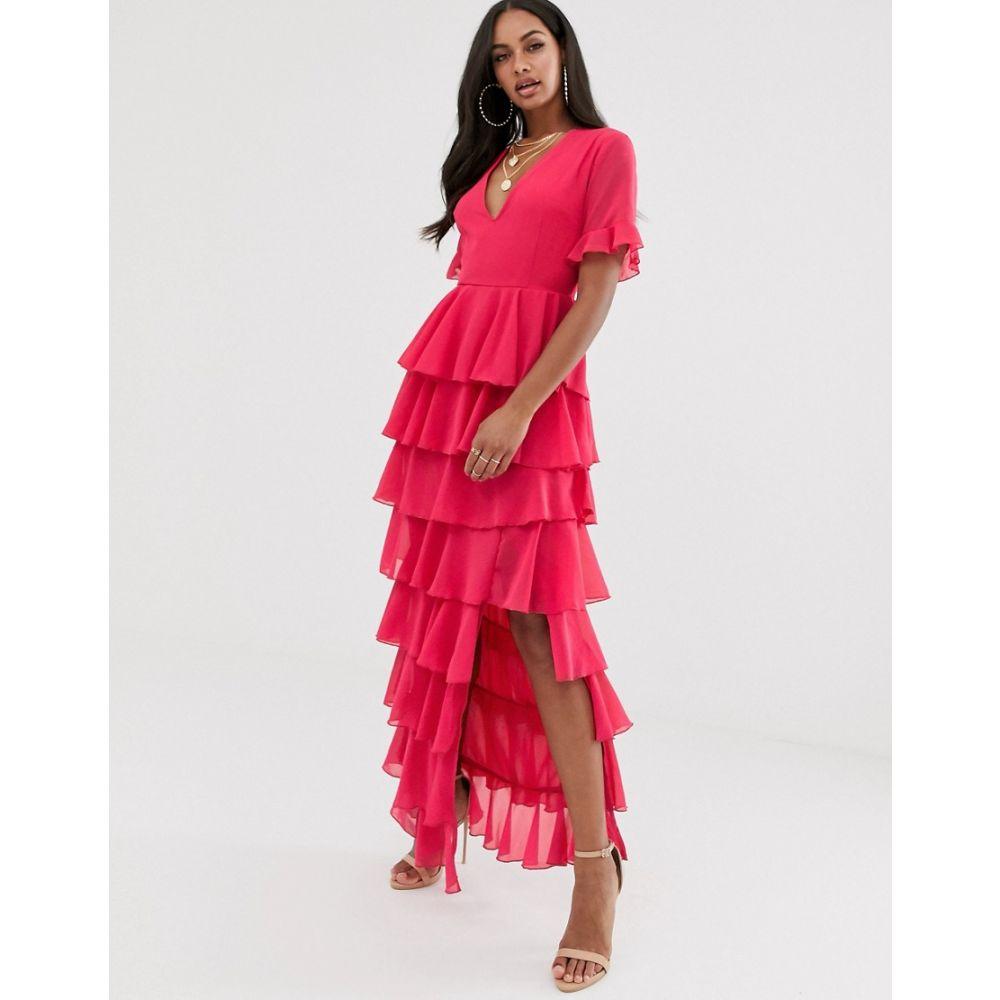 プリティリトルシング PrettyLittleThing レディース ワンピース・ドレス ワンピース【maxi dress with tiered ruffles in raspberry】Raspberry